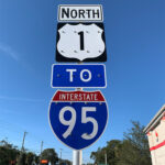 Traffic sign detailing directions to I95 via US 1